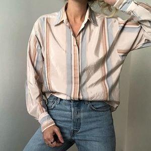 VINTAGE/ silky striped dolman blouse
